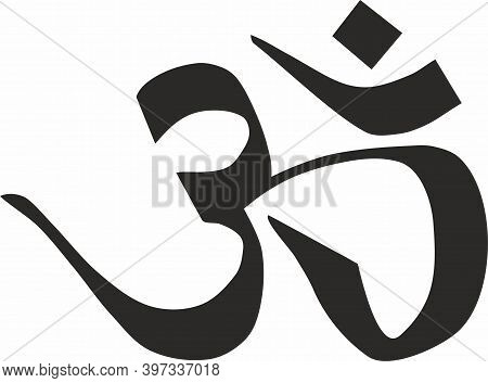 Om Calligraphy Sign And Symbol. Hand-drawn Vector.