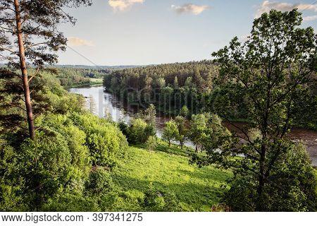 Neris River As Seen From The Hill Fort Of Naujoji Reva In Silenai Cognitive Park Near Vilnius, Lithu