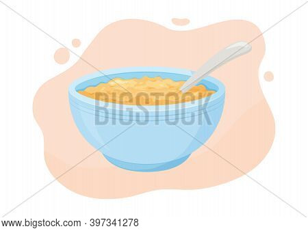 Oats Bowl Vector Icon. Oatmeal Sweet Breakfast Cup, Oat Grain Porridge. Cartoon Muesli, Flake For He
