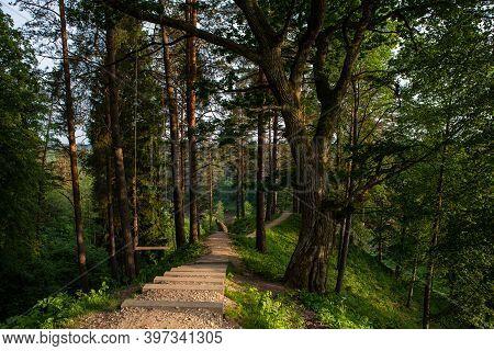 The Hill Fort Of Naujoji Reva In Silenai Cognitive Park Near Vilnius, Lithuania. This Touristic Natu