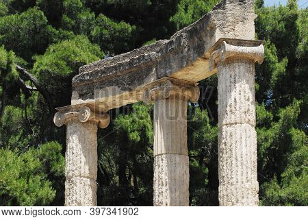 Close Up Of Doric Columns Of The Temple Dedicated To The Goddess Hera Or Heraion In The Famous Greek