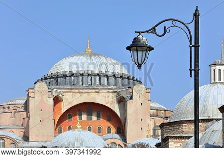 Closeup Of The Hagia Sophia Grand Mosque On A Sunny Day. Sultanahmet Neighbourhood, City Of Istanbul