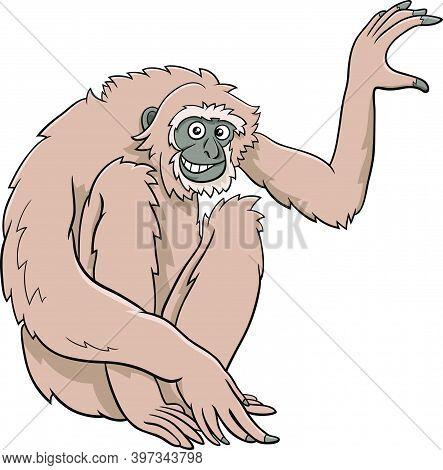 Cartoon Illustration Of Gibbon Ape Comic Animal Character