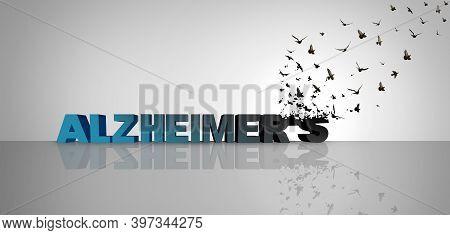 Alzheimer Awareness And Memory Loss Or Alzheimer's Disease As Text Representing Dementia Mental Heal