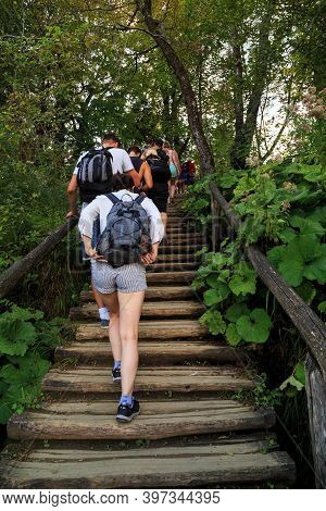 Plitvice, Croatia - September 13, 2016: A Group Of Unidentified People Travels Through The Plitvice