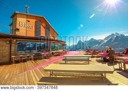 Birg, Murren, Switzerland - Aug 19, 2020: Bistro Birg And Skyline Thrill At 2677, A Platform Situate