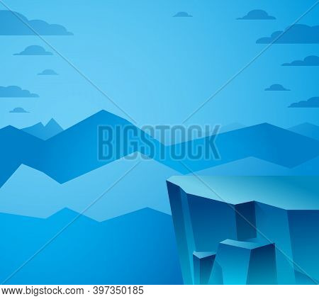 Beautiful Mountain Landscape In The Night, Peak Scenic Nature Vector Illustration, Tranquil Calm Ima