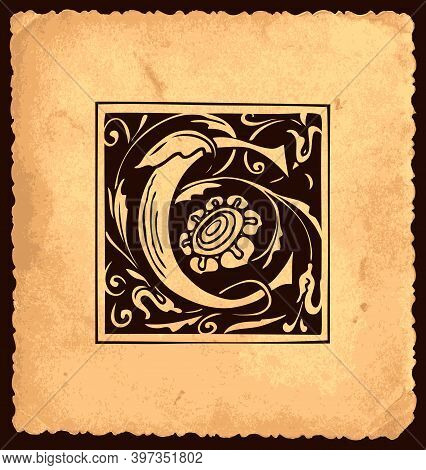 Black Initial Letter C With Baroque Decorations On An Old Paper Background In Vintage Style. Beautif