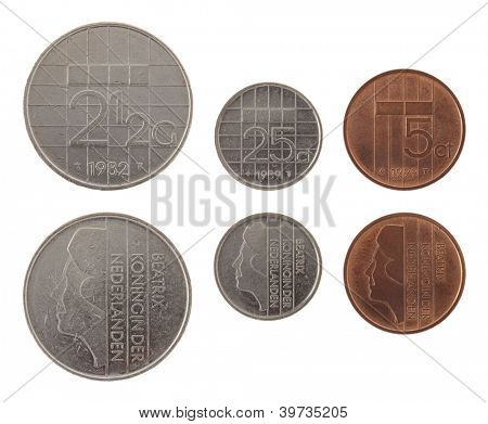 Old Dutch guilder coins depicting Queen Beatrix of the Netherlands. Obverse and reverse isolated on white.
