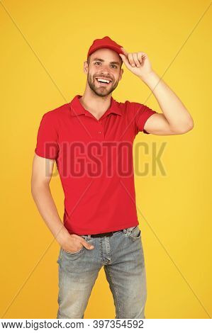 Service Concept. Portrait Of Smiling Deliveryman. Job And People Concept. Side Job For Student. Want