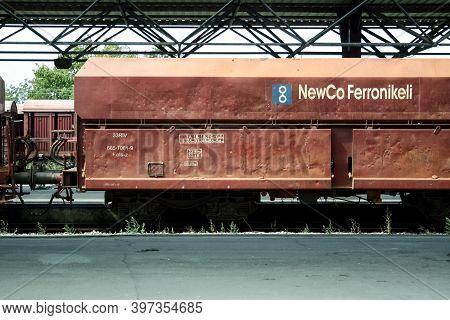 Fushe Kovove, Kosovo - September 11, 2009: Hopper Car Wagon Full Of Nickel Mineral In A Cargo Freigh