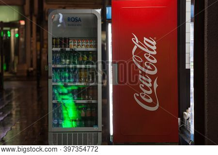 Belgrade, Serbia - February 3, 2019: Coca Cola Logo On A Fridge Belonging To The Company. Coca Cola