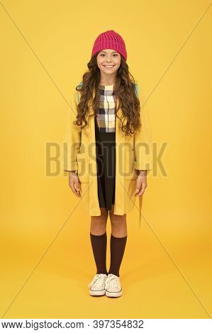 Modern Outfit For Daily Life. Adorable Schoolgirl Winter Outfit. Schoolgirl Street Style Clothes Out