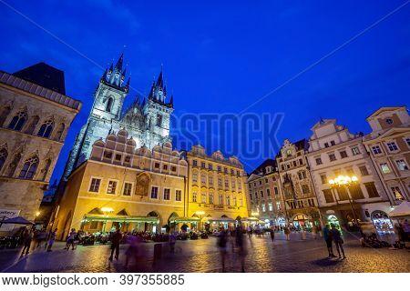 Prague, Czech Republic - august 31, 2020:Tourists at the Old Town Square of Prague in the Czech Republic at dusk