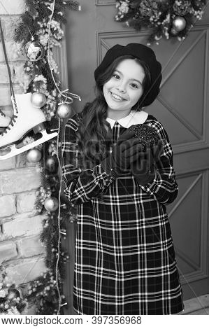 Going To Party. Happy Child Hold Red Ball In Hands. Little Girl Enjoy Christmas Eve Party. New Year