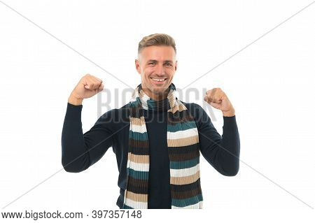 Everyday Winner. Excited Man Isolated On White. Keep Neck Warm. Feel Comfortable. Happy Man In Knitt