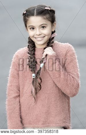 Small Girl Child With Perfect Hair. Happy Little Girl. Beauty And Fashion. Small Kid Fashion. Childh