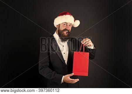 Surprise From Boss. Happy Businessman Got Xmas Surprise. Bearded Man Hold Surprise Bag. Surprise For