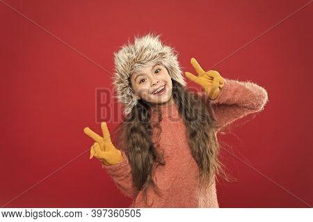 Peace To All. Winter Season. Small Fashionista Concept. Child Long Hair Soft Hat. Winter Fashion Con