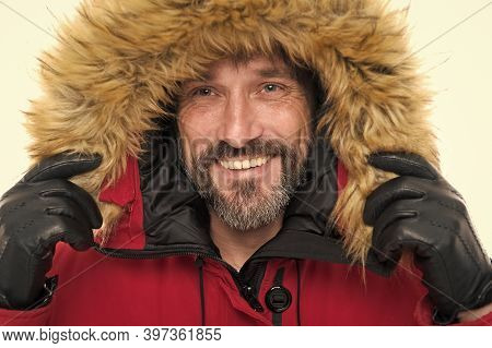 Keep Your Head Snug In Cosy Hood. Happy Man Wear Parka Hood. Mature Man Smile In Faux Fur Hood. Fash