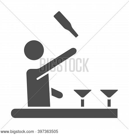 Bartender Throws Up A Bottle Of Drink Solid Icon, Bartenders Day Concept, Bartender Juggles Drinks S