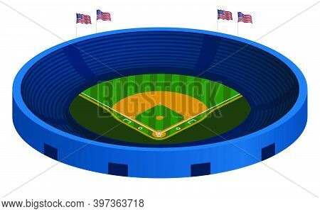 3d Baseball Stadium With Green Baseball Field And Marking Lines. Team Sports. Active Lifestyle. Amer