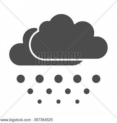 Snow Falls From Clouds Solid Icon, World Snowboard Day Concept, Snowy Weather Sign On White Backgrou
