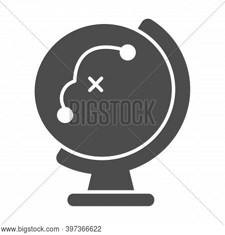 Globe With Flight Path Solid Icon, School Concept, Equipment For Geography Sign On White Background,