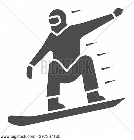 Snowboarder Solid Icon, World Snowboard Day Concept, Man Snowboarding Sign On White Background, Silh