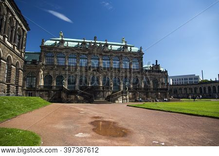 Dresden, Germany - June 05, 2013: Architectural And Park Ensemble Of Zwinger In Dresden