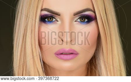 Beauty Make Up Eyes. Eye Makeup. Beautiful Vogue Woman Eyes Glitter Make-up. Holiday Makeup Detail.