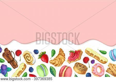Sweet Caramel Background. Pink Glaze Flowing Down. Dripping Ice Cream Or Yogurt Flow Down. Vector Il