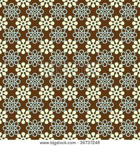 Brown, White, & Aqua Floral Pattern
