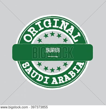 Vector Stamp Of Original Logo With Text Saudi Arabia And Tying In The Middle With Nation Flag. Grung