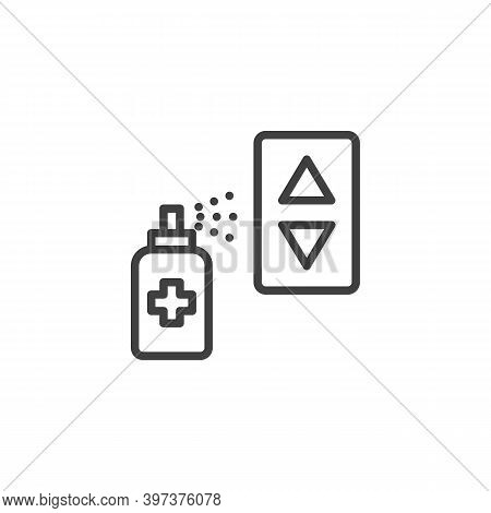Elevator Disinfection Line Icon. Linear Style Sign For Mobile Concept And Web Design. Alcohol Spray