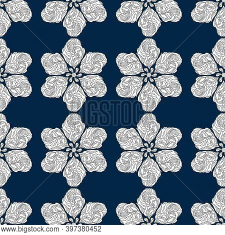 Seamless Pattern. Stylized Snowflakes, Flowers Or Stars, White Elements On A Blue Background. Ornate