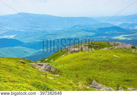 Great Alpine Scenery In Summertime. Beautiful Nature In Fresh Green And Blue Colors. Wonderful Mount