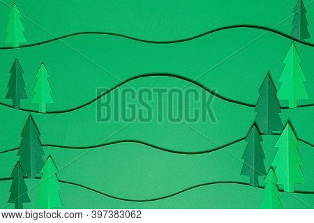 Christmas Tree Paper Cutting Design Papercraft Card. Paper Cut Christmas Trees. Creative Design Of C