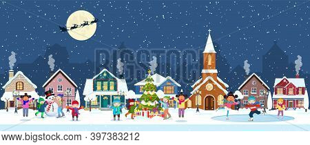 Happy New Year And Merry Christmas Winter Old Town Street. Christmas Town City Panorama. Santa Claus
