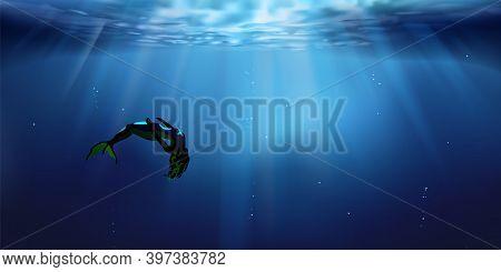 Mermaid And Sea Depths, Underwater Background, Ocean Or Sea Surface Seen From Under Water. Bathing,