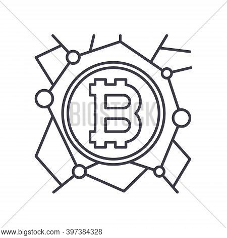 Money Decentralize Icon, Linear Isolated Illustration, Thin Line Vector, Web Design Sign, Outline Co