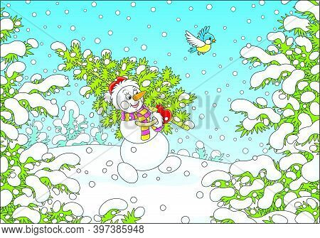 Friendly Smiling Snowman With A Red Hat, A Warm Scarf And Mittens Carrying A Prickly Green Fir Tree
