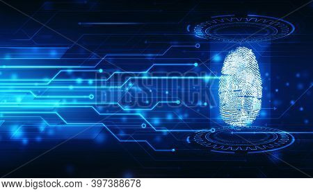 Cyber Security And Digital Lines With Fingerprint Abstract. Abstract Security System Concept With Fi