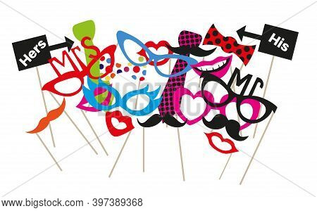 Colorful Photo Booth Party Prop Set Vector Illustration On A White Background.