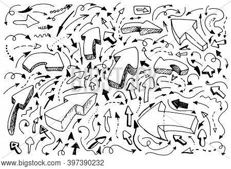 Hand-drawn Pointers Doodle Vector Set. Large Collection Of Pen Ink Pencil Drawings Sketches Of Guide
