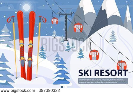 Ski Resort Banner Illustration With Ski Lift And Equipment. Winter Landscape With Mountains, Fir Tre