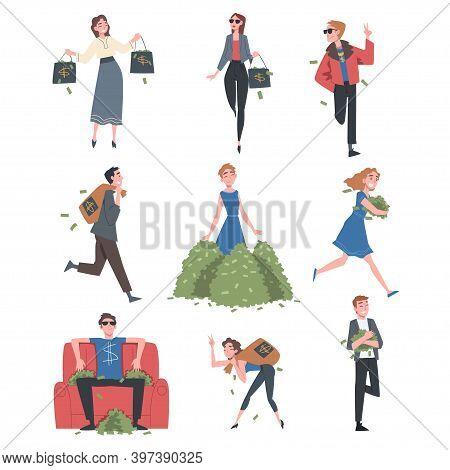 Rich Business People Set, Wealthy Person, Millionaire Characters, Financial Success, Profit, Income