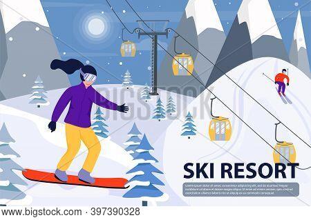 Ski Resort Banner Illustration With Ski Lift, Snowboarder And Skier. Sportsmans Slide Down The Slope