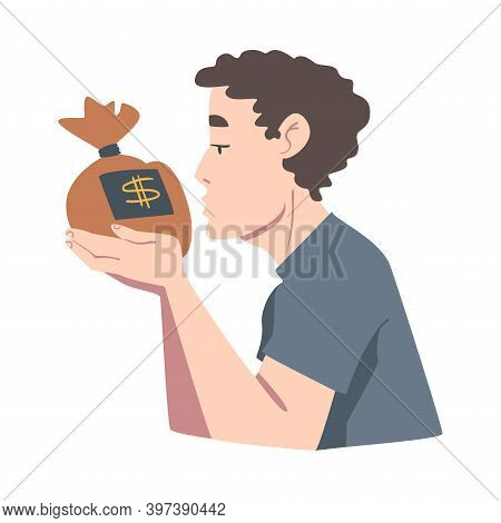 Man Looking At Money Bag With Adoration, Wealthy Person, Millionaire Character, Financial Success, P