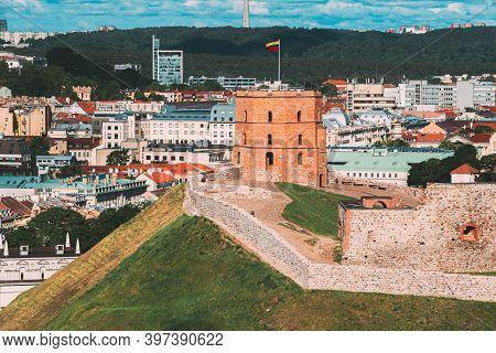 Vilnius, Lithuania. Tower Of Gediminas Gedimino In Vilnius, Lithuania. Historic Symbol Of The City O